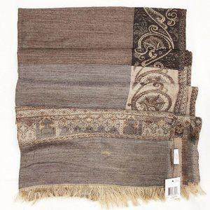 Charter Club Brown Wool Silk Damask Shawl Scarf